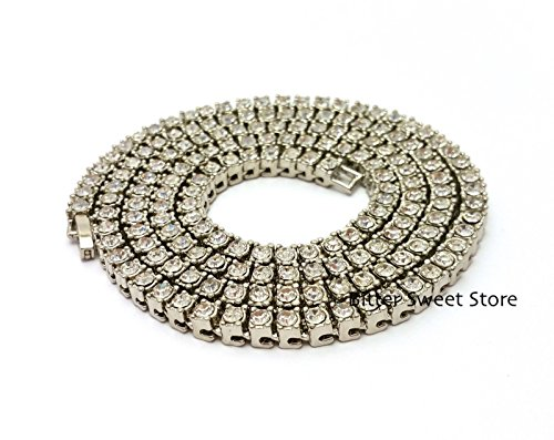 Shiny Jewelers USA Mens Iced Out Hip Hop Silver Tone CZ Miami Cuban Link Chain Choker Necklace 4