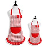 Mother-Daughter Matching Kitchen Apron Set, Red Polka Dot with Ruffles and Pocket
