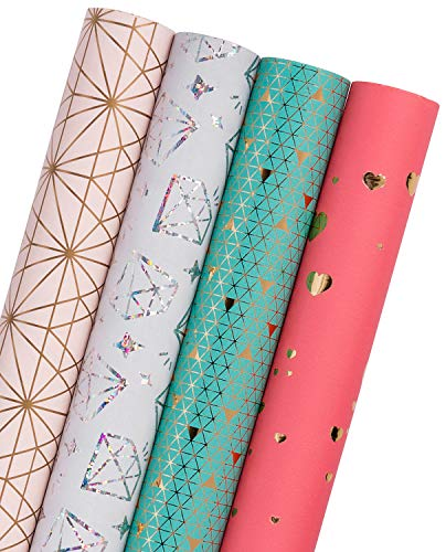 WRAPAHOLIC Gift Wrapping Paper Roll - Sparkle Foil Hearts/Diamond/Classic Pattern with Cut Lines for Wedding, Birthdays, Holiday, Baby Shower Gift Wrap - 4 Rolls - 30 inch X 120 inch Per Roll