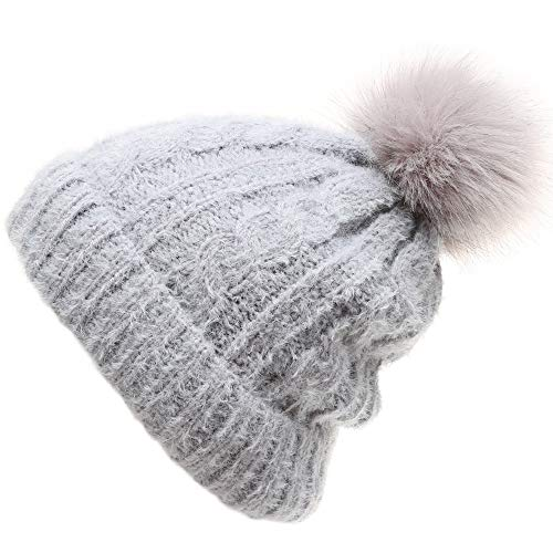 bd7bb84f35fcb MIRMARU Women s Winter Warm Stretchy Cable Knitted Faux Pom Pom Beanie Hat  with Sherpa Lining (224