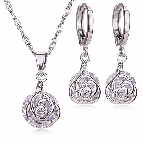 Moochi Platium Plated White Zircon Stone Embedded Brozen Necklace Earrings Jewelry Set