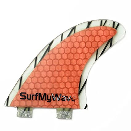 Free Shipping-Surf My Wave Surfboard Fins FCS Base Orange Fiberglass Thruster Set + Fins screws and Hex keys (G3 G5 G7)