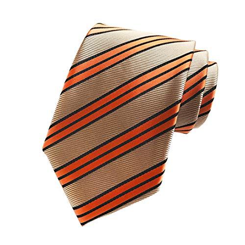 New Classic Khaki Gold Striped Tie Woven Jacquard Silk Men's Suits Ties Necktie