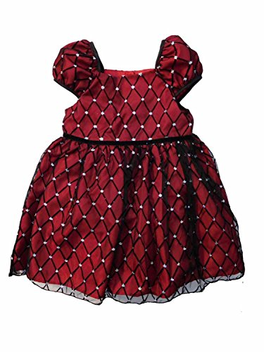 George Girls Red Burgundy Holiday Party Dress With Sparkly Mesh Overlay 4