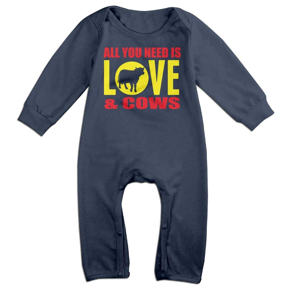 UGFGF-S3 All You Need is Love and Cows Long Sleeve Newborn Baby Bodysuit for 6-24 Months Bodysuit