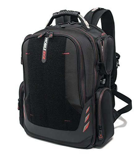Mobile Edge - Core Gaming Backpack with Velcro Front Panel 17''-18'' - Black with Red Trim (MECGBPV1) by Mobile Edge