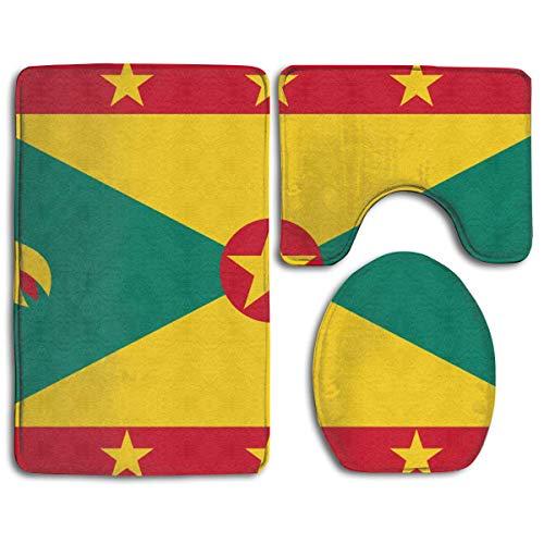Grenada 3 Piece - Bath Mat Sets Flag of Grenada Contour Rug U-Shaped Toilet Lid Cover,Non Slip,Machine Washable,3-Piece Rug Set Easier to Dry for Bathroom