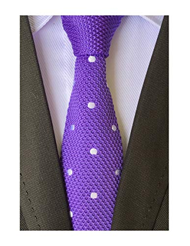 - Men Woven Silk Violet Purple Skinny Ties Knit Handmade Stunning Wedding Neckties