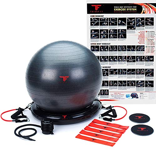 ThinkFit Core System Yoga Exercise Ball Resistance Band Core Sliders Resistance Loop Bands Poster and Pump Think Fit - Live - Back Ball Exercise