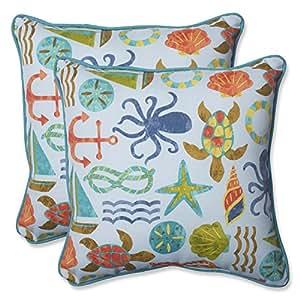Almohada perfecta al aire libre SEAPOINT verano manta almohada, 18,5pulgadas, Azul, juego de 2