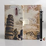 Locaa(TM) For Huawei Google Nexus 6P Nexus6P New Leather Case Retro Style Building Cute Cartoon Leather Folio Case Cover Wallet Card Holder Shell Magnetic Flip Case + Gift Present [Picture Series] - Leaning Tower Pisa