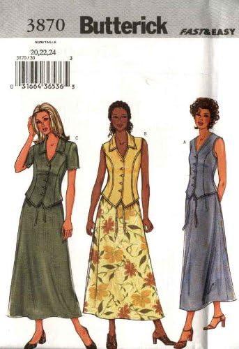 Butterick 3870 - Patrón de costura para falda larga con botones ...