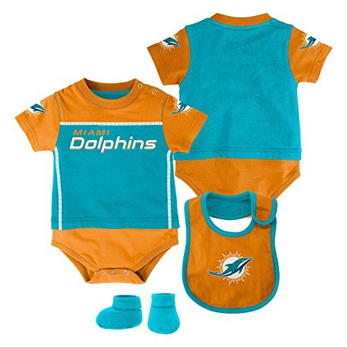 - NFL Miami Dolphins Creeper/Bib and Bootie Set, Youth 24 Months, Aqua