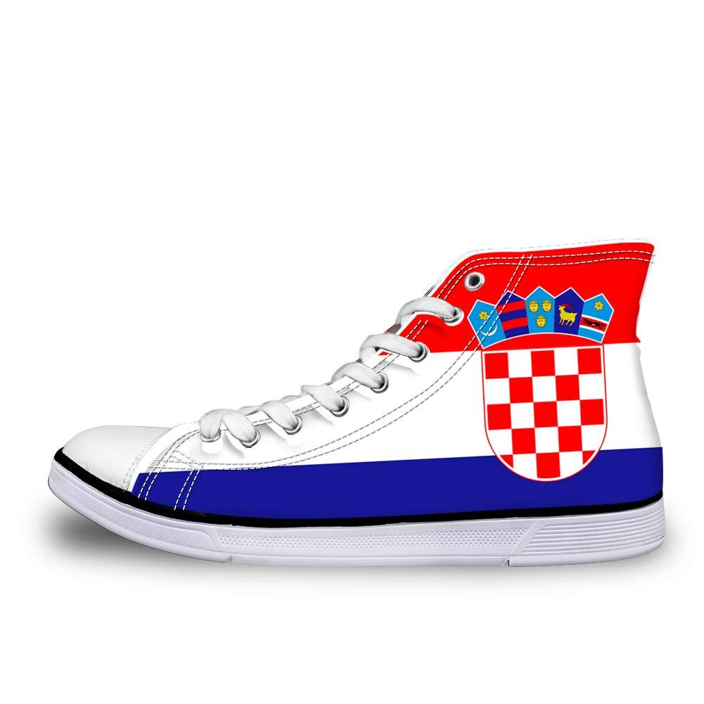 Canvas High Top Sneaker Casual Skate Shoe Mens Womens Croatia Flag
