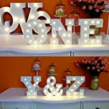WONFAST Decorative Light Up Wooden Alphabet Letter, DIY LED Letter Lights Sign Party Wedding Holiday Marquee Decor Battery Operated,Warm White,Alphabet