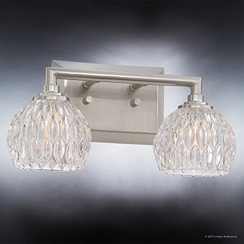 Luxury Crystal Bathroom Vanity Light, Medium Size: 6.25''H x 12.5''W, with Classic Style Elements, Brushed Nickel Finish and Marquis Cut Glass Shades, G9 LED Technology, UQL2620 by Urban Ambiance by Urban Ambiance (Image #2)