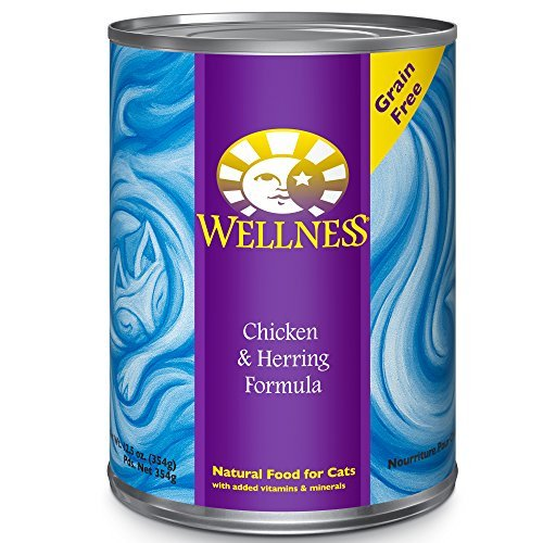 Wellness Complete Health Natural Canned Grain Free Wet Cat Food, Chicken & Herring Pate, 12.5-Ounce Can by Wellness Natural Pet Food by Wellness Natural Pet Food