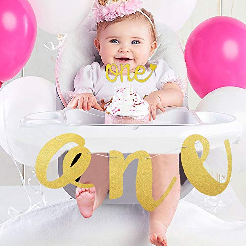 Pinlook 1st First Birthday Banner Set ONE Banner High Chair and One Cake Topper Glitter Gold Banner(9.8ft, 250g)