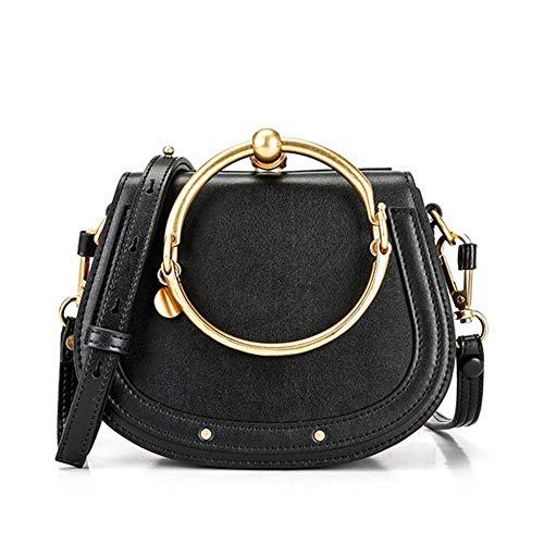 (Normia Rita Cowhide Leather Top Handle Handbags Ring Purse Vintage Crossbody Shoulder Bags)
