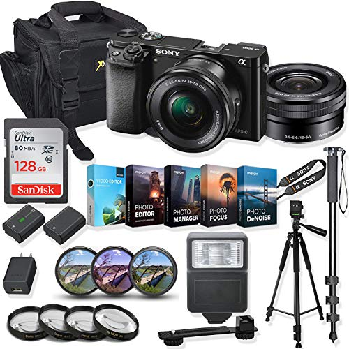 Sony Alpha a6000 Mirrorless Digital Camera 16-50mm f/3.5-5.6 OSS Lens Kit + Prime Accessory Bundle with 128GB Memory & Photo/Video Editing Software - Black