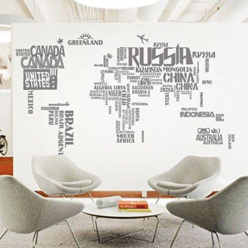 Hongrun Creative Mapamundi Grande Wall Sticker Salón Sofá Tv ...