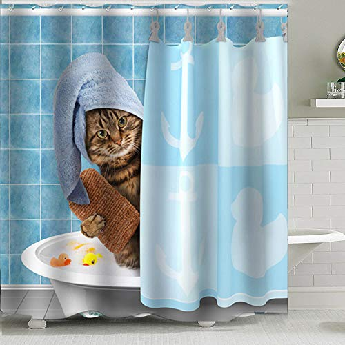 Ciujoy-Shower-Curtain-Funny-Cat-Cartoon-Design-180x180cm-3D-Digital-Printed-Waterproof-Mould-Proof-Resistant-Bathroom-Washable-Bath-Curtain-Polyester-Fabric-with-12-Hooks-Cat-Bath