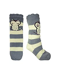 Ladies Warm Winter Owl Slipper Socks with Full Fleece Lining