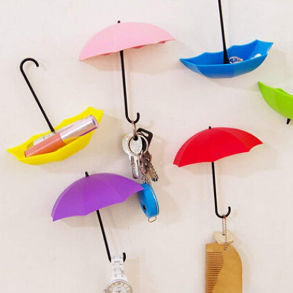 3pcs/Set Umbrella Shaped Creative Key Hanger Rack Decorative Holder Wall Hook for Kitchen/Bathroom Accessories Color Random