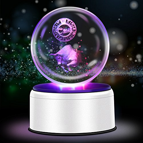 3D Crystal Ball Constellation Gift LED Lighting Astronomy Nebula 7 Colors Optical Illusion 3D Lamp Laser Engraving Valentine Children's Day (Taurus)
