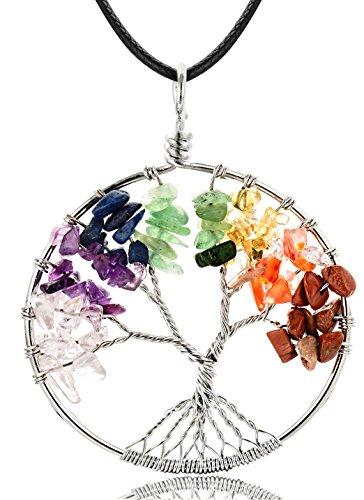 WRCXSTONE Natural Gemstone 7 Chakra Tree of Life Pendant Necklace For Unisex Multicolored 18''