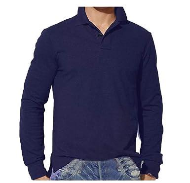 CuteRose Men Turn Down Collar Long Sleeve Polo Shirts Big & Tall ...