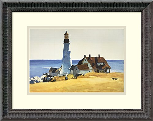 Framed Art Print, 'Lighthouse and Buildings, Portland Head, 1927' by Edward Hopper: Outer Size 18 x 15