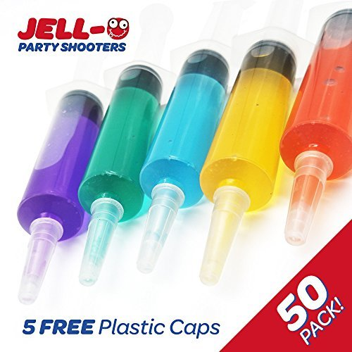 Jello Shot Syringes 50 Pack Shooters for 1.5oz Shots (FREE 5 Extra Caps + 70 Jello Shot Recipes PDF) Reusable Use for Halloween Tailgates Birthday Bachelor #1 Quality Plastic Syringes Bulk Pack for $<!--$40.00-->
