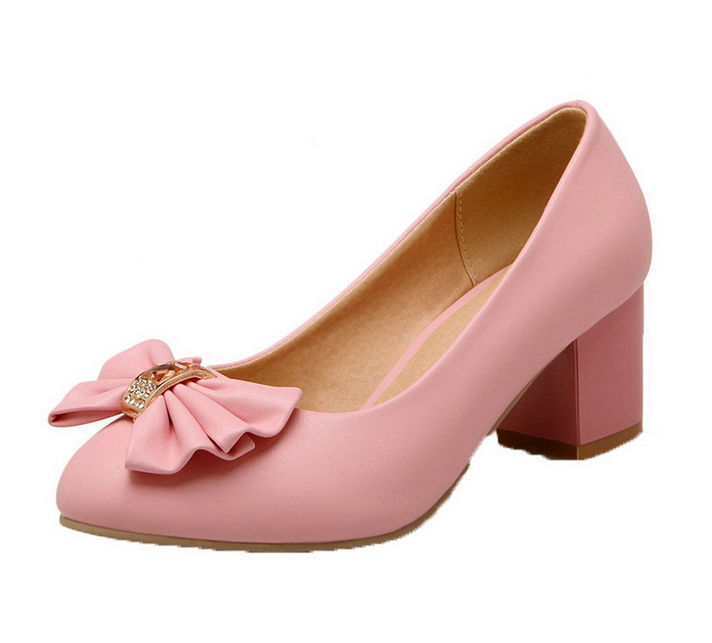 AalarDom Women's Solid PU Kitten-Heels Round-Toe Pull-On Pumps-Shoes, Pink, 35