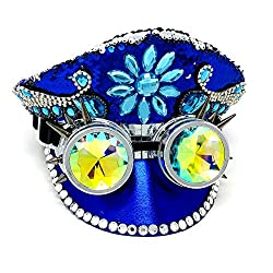 Blue Rhinestone Steampunk Style Hat with Goggles