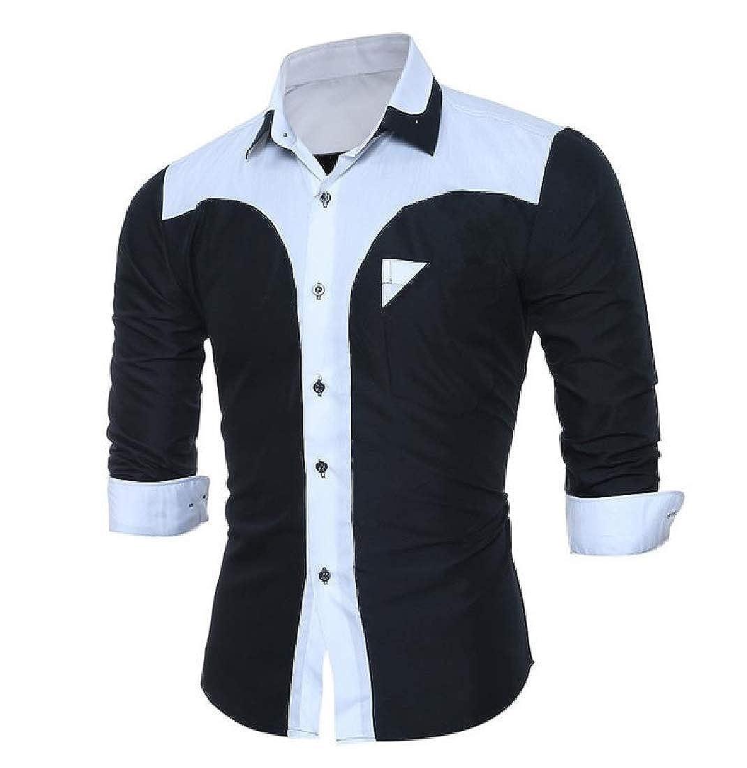 RDHOPE-Men Dress Business Stitch Trim-Fit Fit Oversized Dress Shirts