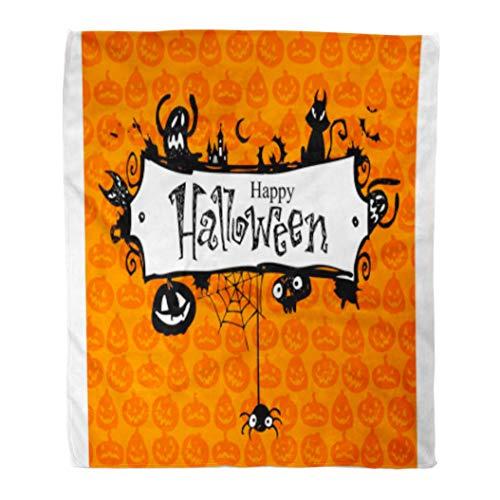 Golee Throw Blanket Orange Border Halloween Red Pumpkin Pattern Lantern Vintage Jack Bat 50x60 Inches Warm Fuzzy Soft Blanket for Bed Sofa -