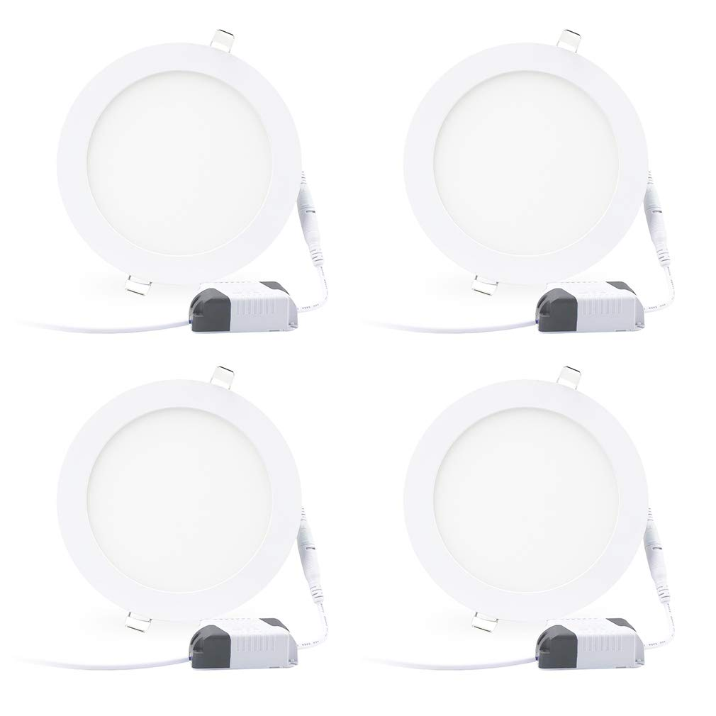 3000K Warm White 4 Pack LED Ceiling Light 105W Equivalent 15W 6 Ultra Thin Dimmable LED Recessed Lighting Fixture Retrofit Downlight 1500 Lumens