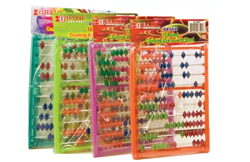 BAZIC Small 10-Railed Counting Abacus with Stand, Multi Color (3501-72) by Bazic