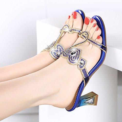EU35 colores 5 Rhinestone mujer tacón 225 LIXIONG Purple 6 del cm Color Azul moda Tamaño 5 talón tacón Altura 3 verano CN35 de Zapatos zapato Zapatillas moda UK3 grueso medio 5qFwTSwY