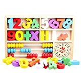 Douyye Wooden Toys Figures Education Learning Educational Toys,Abacus Clock Numbers Play Thing,Digital Learning Tools for Kindergarten Preschoolers,Arithmetic Math Games for Kids,(Multicolored)