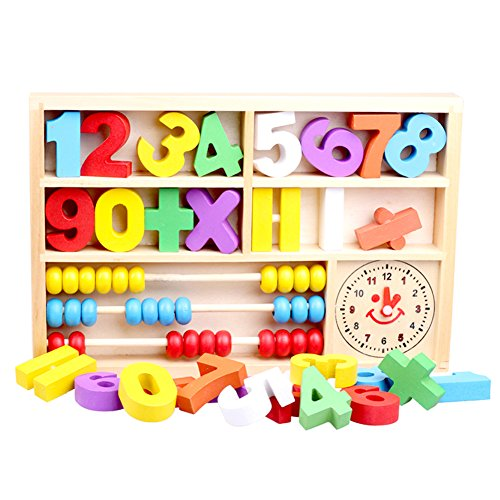 Douyye Wooden Toys Figures Education Learning Educational Toys,Abacus Clock Numbers Play Thing,Digital Learning Tools for Kindergarten Preschoolers,Arithmetic Math Games for - Mcallen Outlets