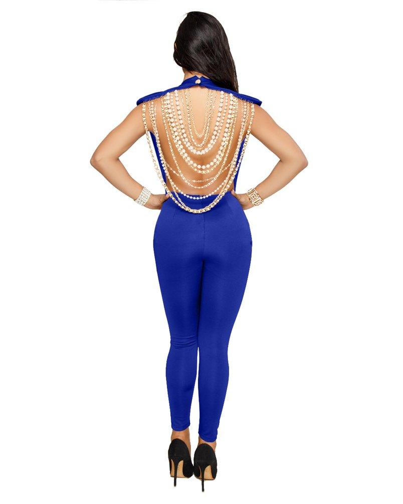 CHENGYANG Femmes Combinaison Pantalon sans Manches Partie de Soirée Dos Nu Jumpsuit