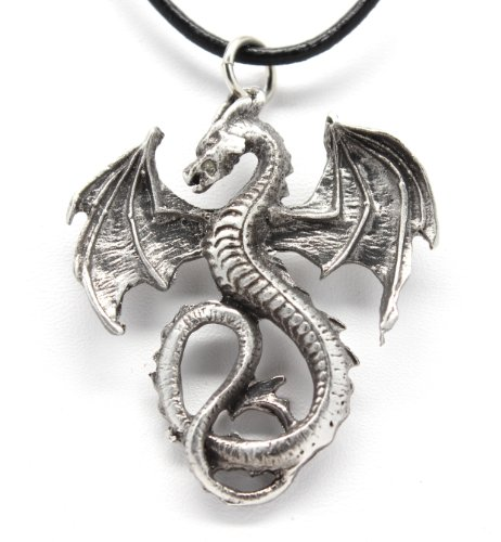 Pewter Dragon Gothic Fantasy Pendant on Leather Necklace