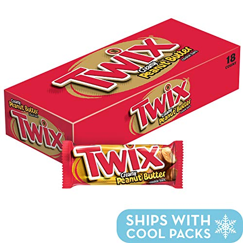 TWIX Peanut Butter Singles Size Chocolate Cookie Bar Candy  1.68-Ounce Bar 18-Count Box