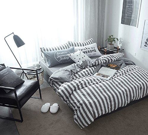 Jane yre Luxury Duvet Cover Set Queen Cotton Grey White Stripes,3 Pieces Lightweight Soft Bedding Collections Home Bedroom Decorations Zipper Closure,NO Comforter