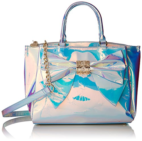 Betsey Johnson Hollographic Iridescent Bow Satchel Crossbody, Metallic Bow Satchel