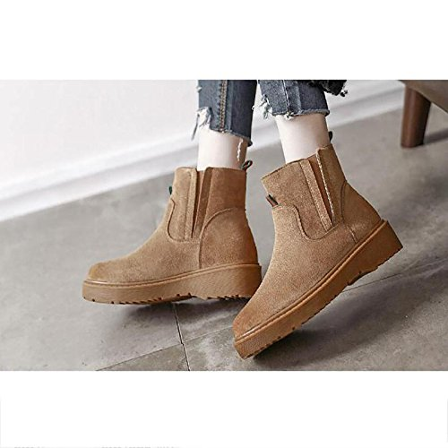Retro short boots Flat snow boots thickening Winter warm boots BROWN-39 S9uW3