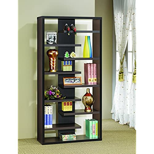 Coaster Casual Dark Cappuccino Interjecting Shelf Bookcase With Center Back Panel By Home Furnishings