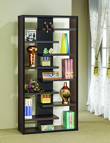 Coaster Home Furnishings Bookcase with 8 Staggered Shelves Cappuccino